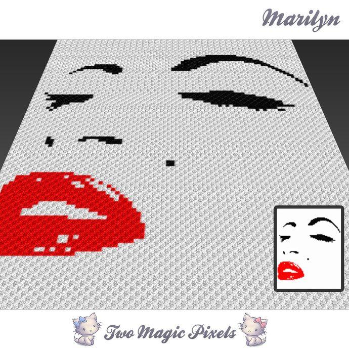 Marilyn crochet blanket pattern; c2c, knitting, cross stitch graph ...