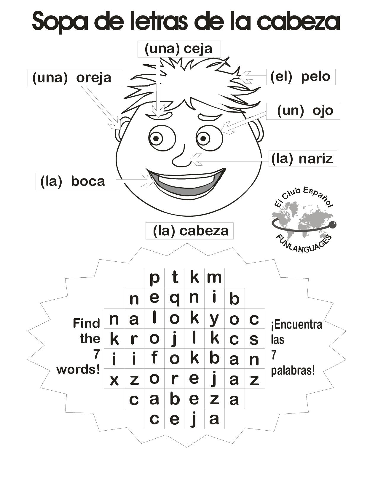 Sopa de letras de la cabeza | Teacher\'s | Pinterest | Kind