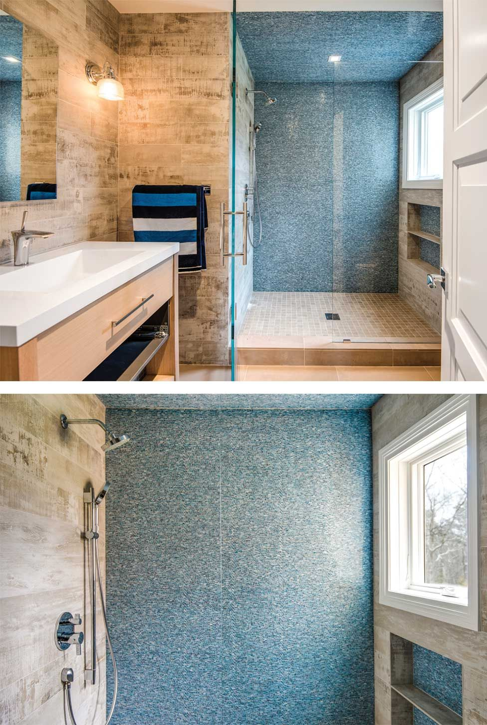 The blue tile work on this East Hampton bathroom is breathtaking ...