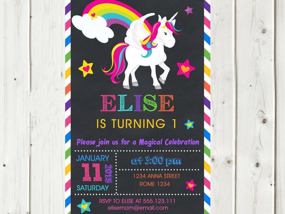 Printable Rainbow Birthday Invitations ~ Rainbow unicorn birthday invitation party personalized printable
