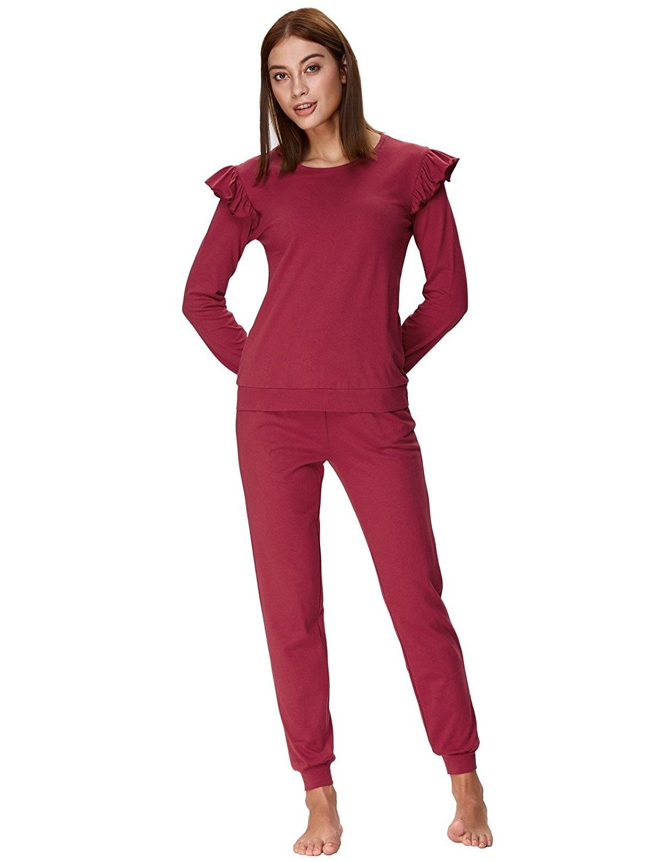 66f1fd8f7757 Women s Long Sleeve Pajamas Set With Pants Cotton Loungewear ZE0107 - Wine  Red - CI188ITHOAN