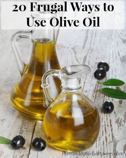 20 Frugal Ways to Use Olive Oil including cleaning tips, household hacks, beauty tips, healthy living tips, and frugal pet care tips.