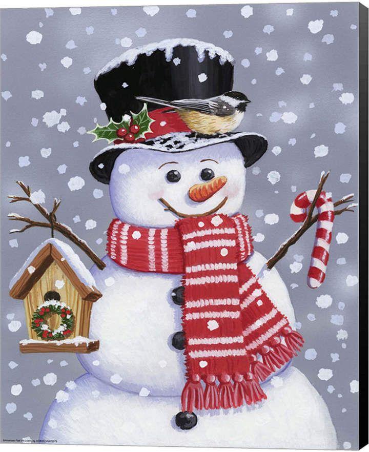 Snowman With Tophat By William Vanderdasson Canvas Art - Multi