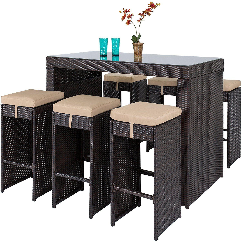 Amazon Com Best Choice Products 7pc Rattan Wicker Barstool