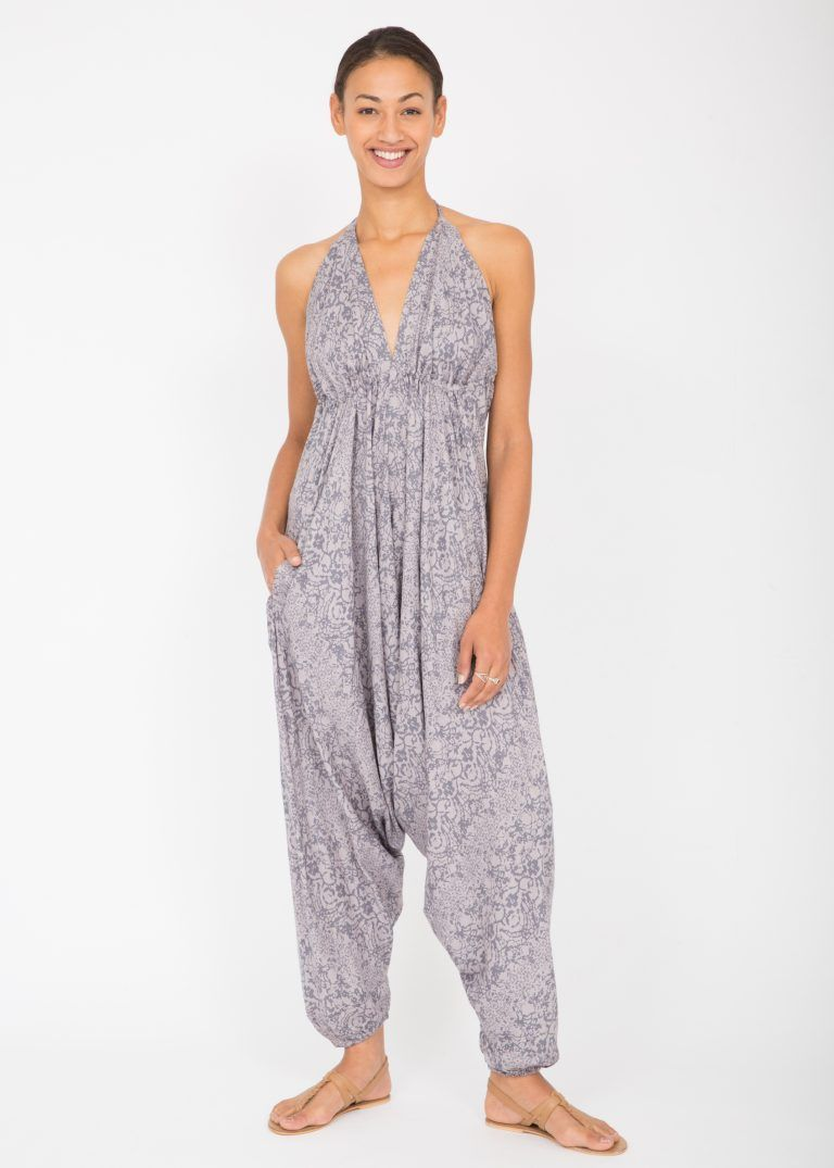 a27cc2e00676 Halter Harem Printed Jumpsuit Grey Abstract | Jumpsuit Style ...