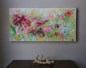100% pintado a mano  Pintura de acrílico sobre galería envuelto lona con grapas posteriores.   (Gracias por mirar! Pásate por mi tienda para pinturas originales más aquí: http://www.etsy.com/shop/mimigojjang?ref=si_shop ****************************************************************************** Descripción de la obra de arte  Acrílico sobre lienzo -Pintura de la flor título: Resumen, -TAMAÑO: 48 x 24 x 1, pulgada de 5d  -MEDIO:... Acrílicos profesionales en lona de algodón 100% en barras…