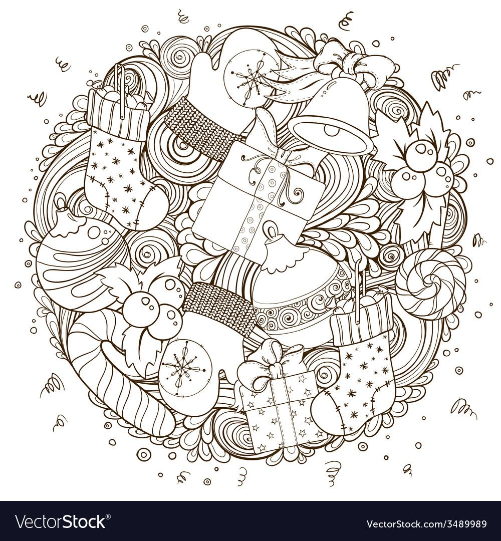 Merry Christmas Holiday Circle Composition Vector Image On Vectorstock Coloring Books Christmas Coloring Pages Coloring Pages