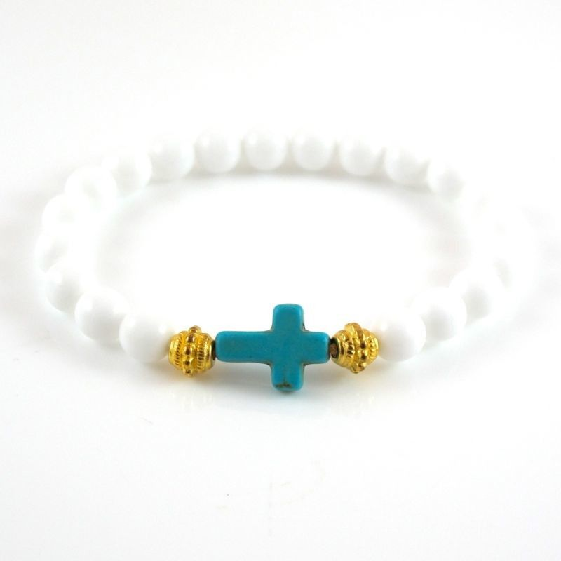 White Cross Bracelet with Turquoise Howlite Cross , Unisex. Perfect for stacking , part of our NEW Peace & Love collection. Available in many colours .