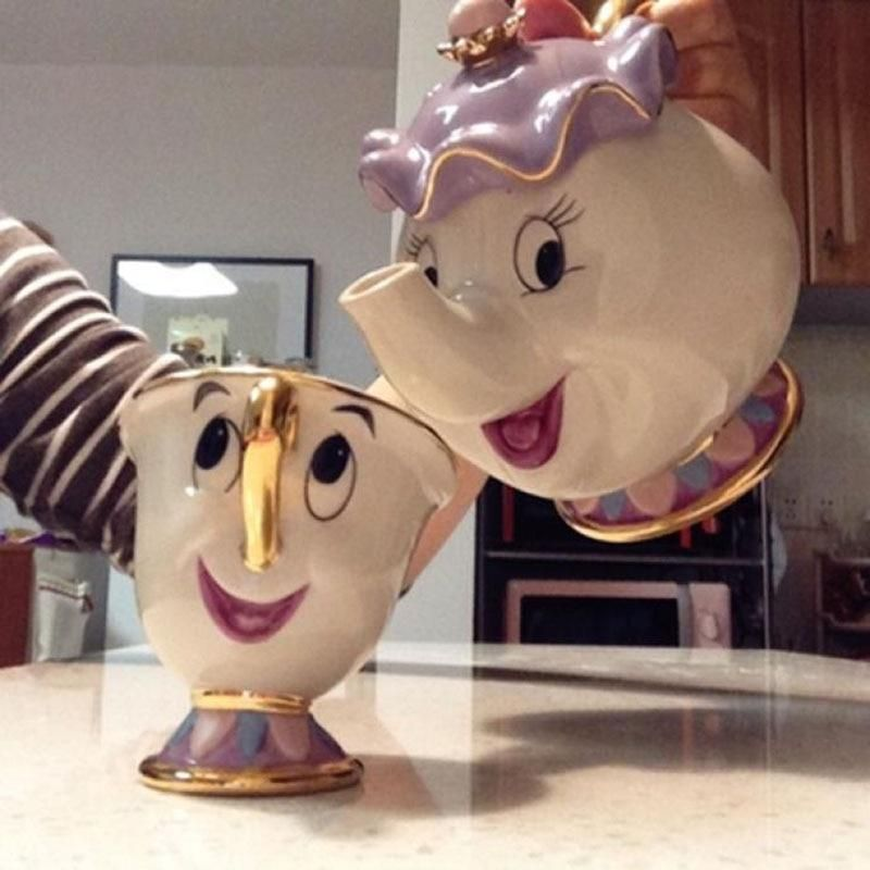 Cartoon Beauty And The Beast Teapot Mug Mrs Potts Chip Tea Pot Cup Set Porcelain Gift 18K Gold-plated Painted Enamel Ceramic New