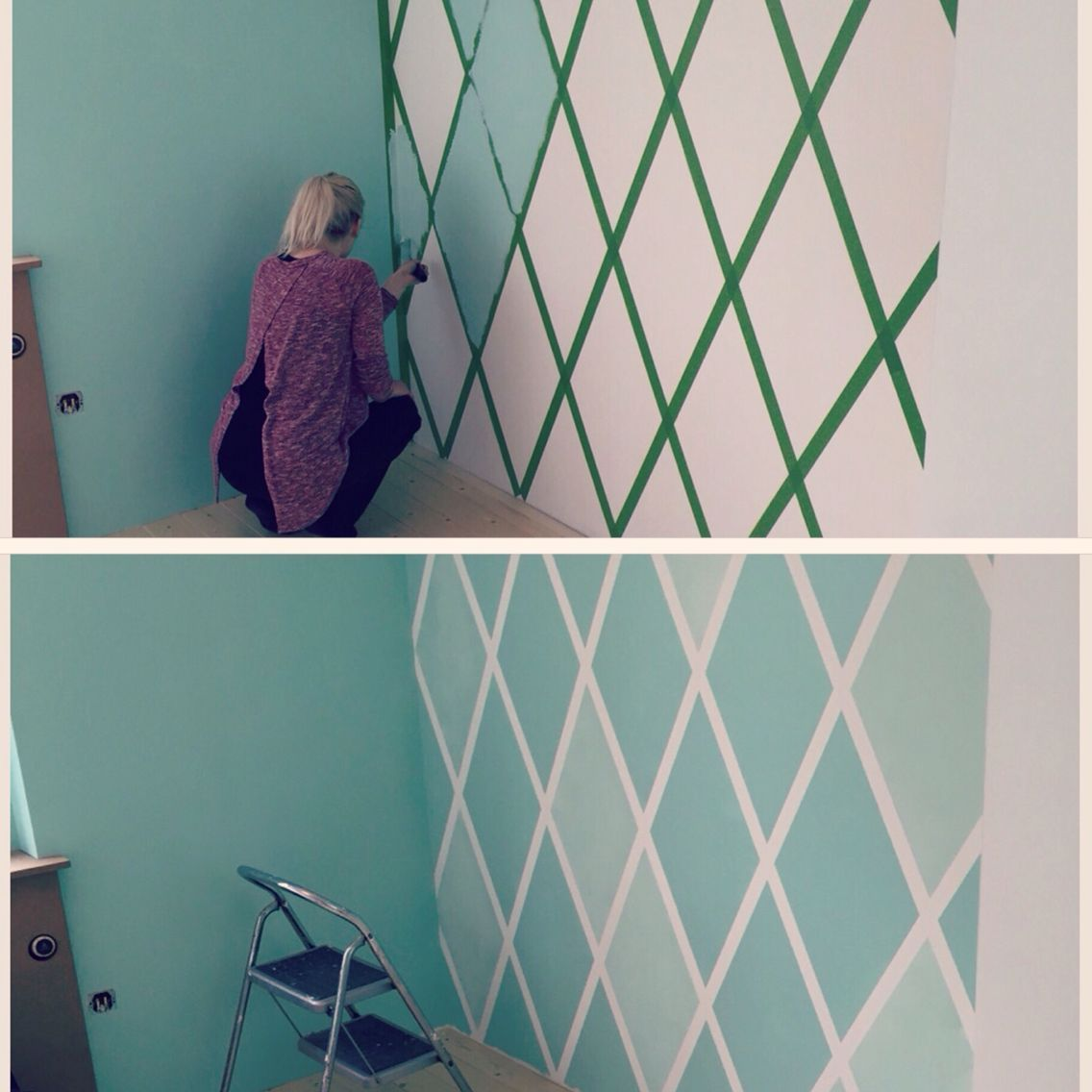 Diy Accent Wall Using Painters Tape Easy And Inexpensive Way For Any Room Wohnzimmer Accent D Bedroom Wall Paint Wall Paint Patterns Room Wall Painting