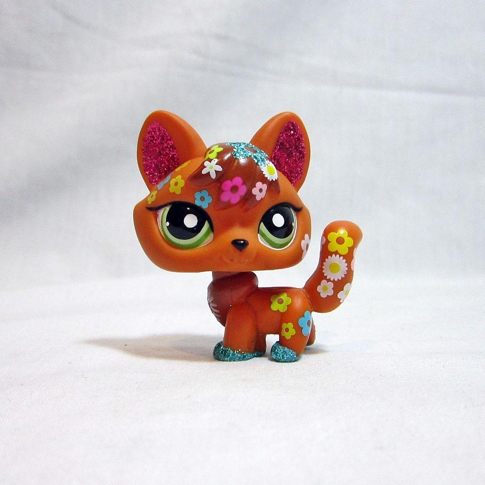Littlest Pet Shop LPS Toys #2341 Brown Tan Shimmer Sparkle Fox Green Eyes