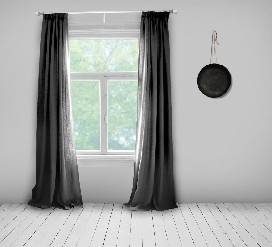 Charcoal Linen Curtains Over The Bedroom Door In The Spanish House.  Thinking Of Adding An