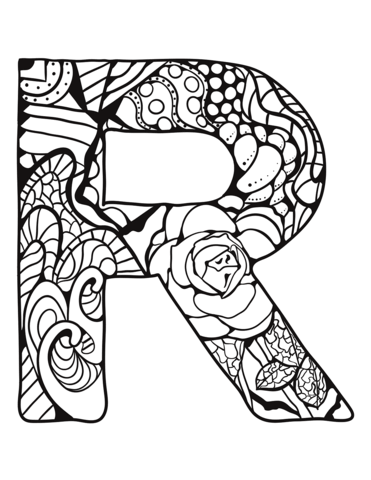 Letter R Zentangle Coloring Page Abc Coloring Pages Alphabet Coloring Pages Alphabet Coloring