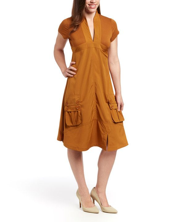Look at this Style NY Rust V-Neck Dress on #zulily today!