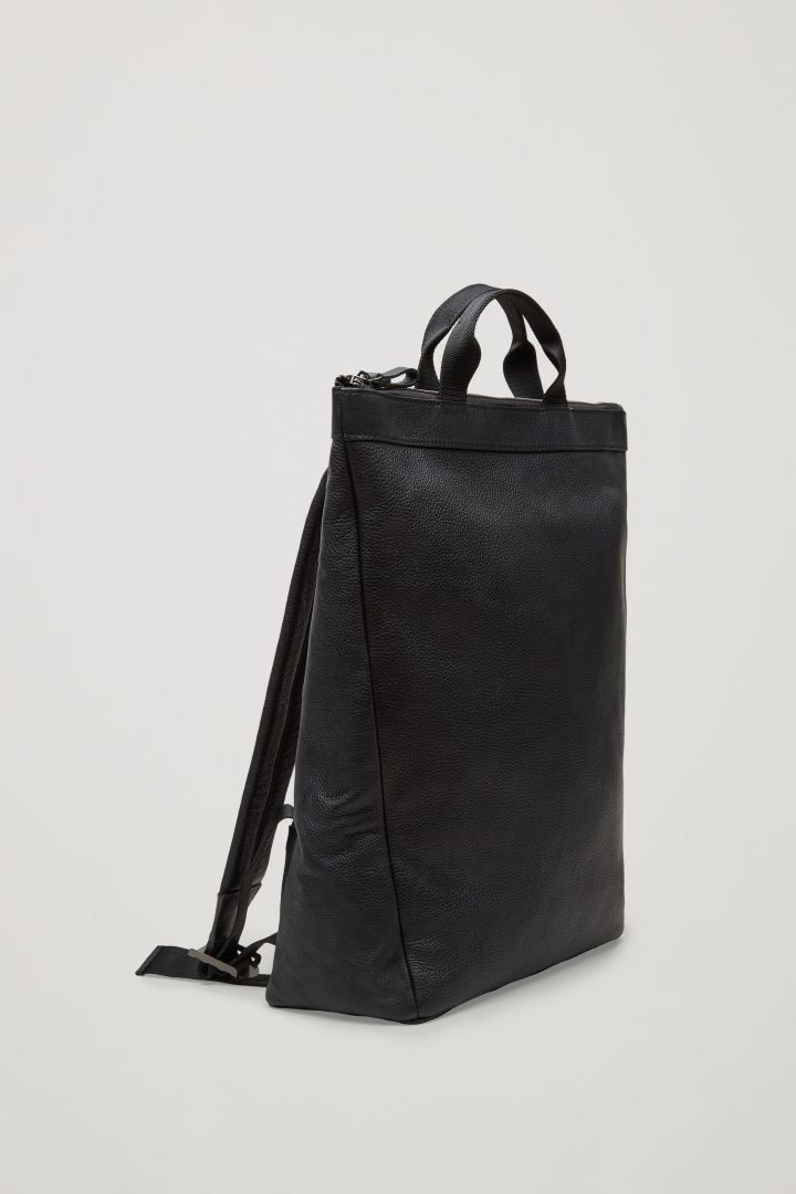 COS image 4 of Leather tote backpack in Black  c534b2c0d0cf4