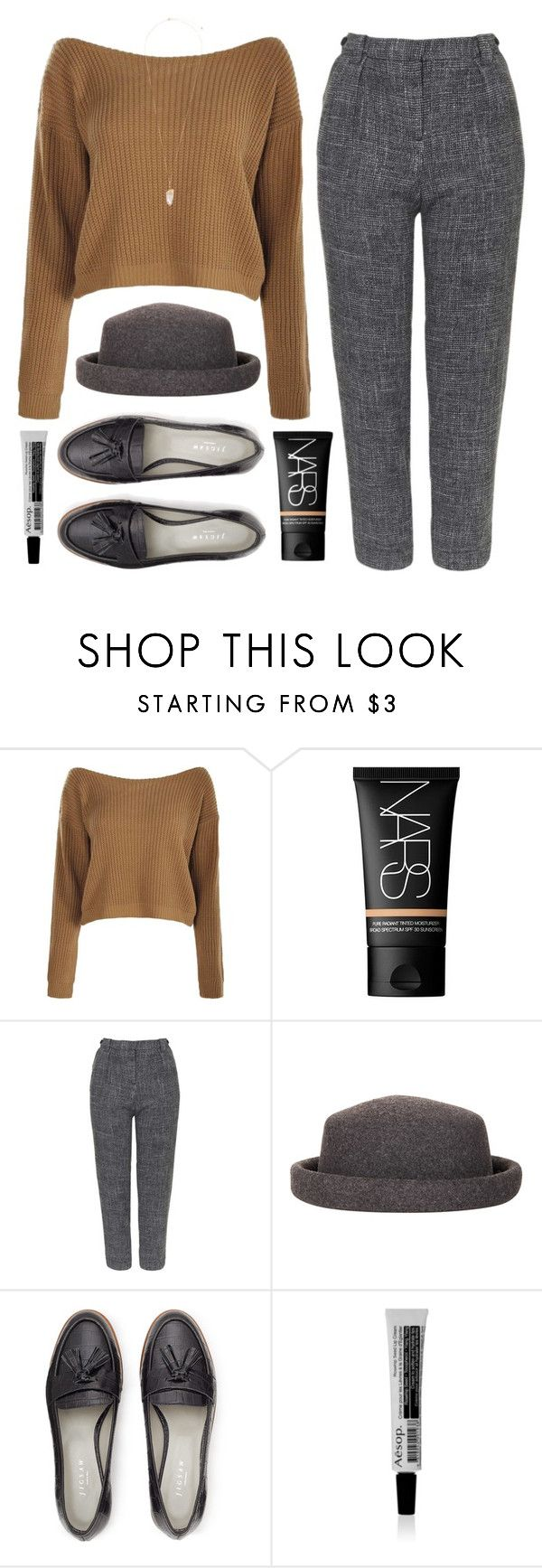"""""""Saoirse"""" by soym ❤ liked on Polyvore featuring NARS Cosmetics, Topshop, Jigsaw, Aesop and Eloquii"""