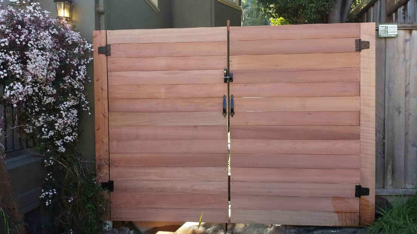 Custom Horizontal Board Gate With Hardware Bought From Classic Fence Co Classic Fence Wood Fence Fence Gate