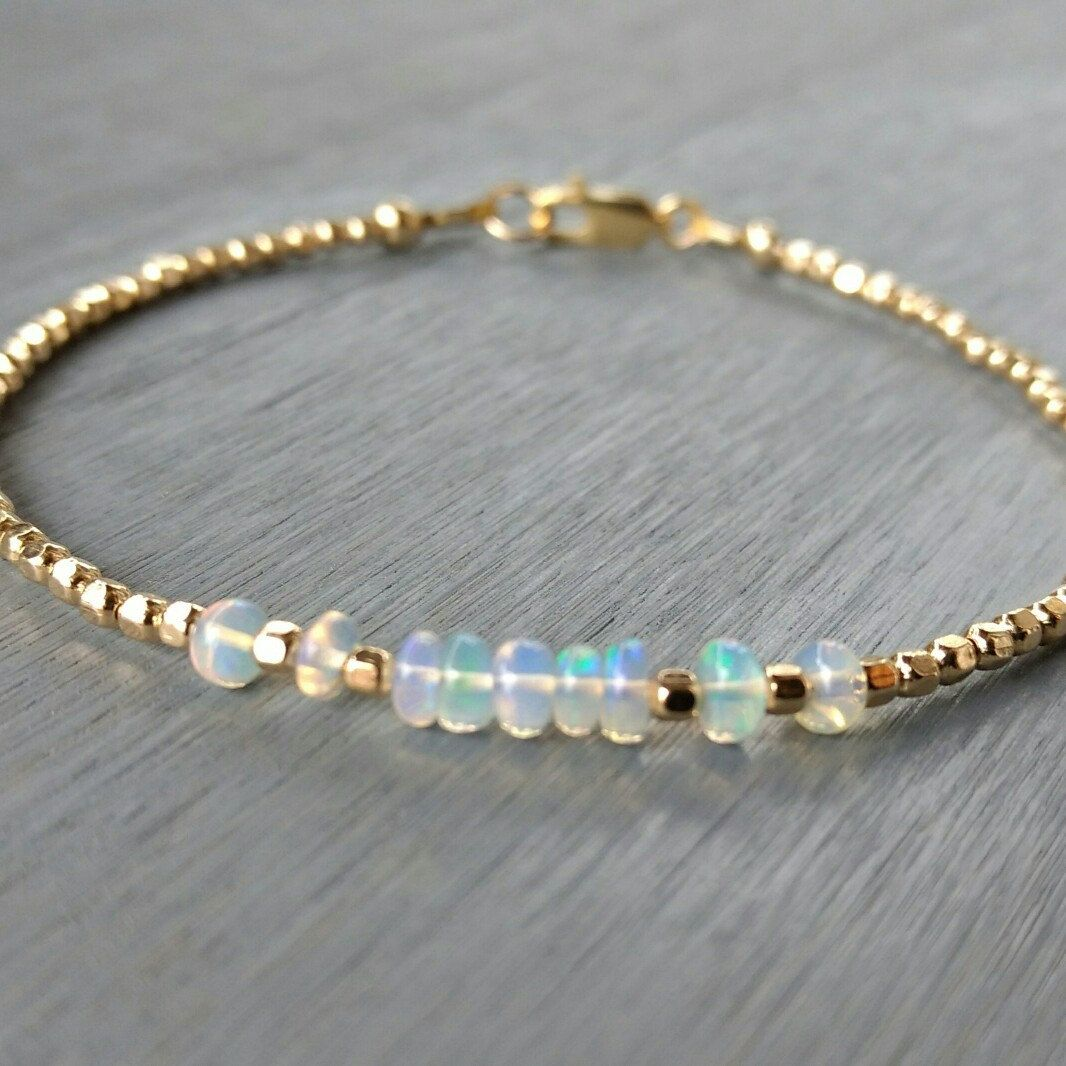 Beautiful and simple Ethiopian opals and 14 k gold filled beaded