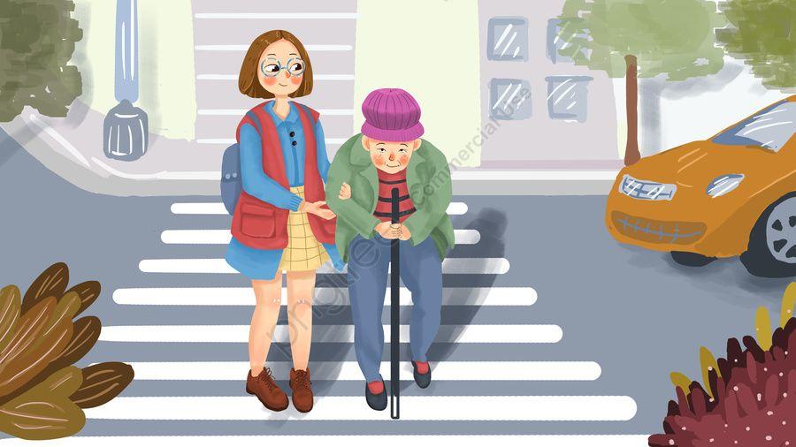 مساعدة كبار السن على عبور الطريق والرعاية موجزة للمسنين معبر الحمار الوحشي رجل عجوز فتاة صورة توضيحية على Pngtree غير محفوظة الحقوق Little Girl Cartoon Cartoon Background Girls Illustration