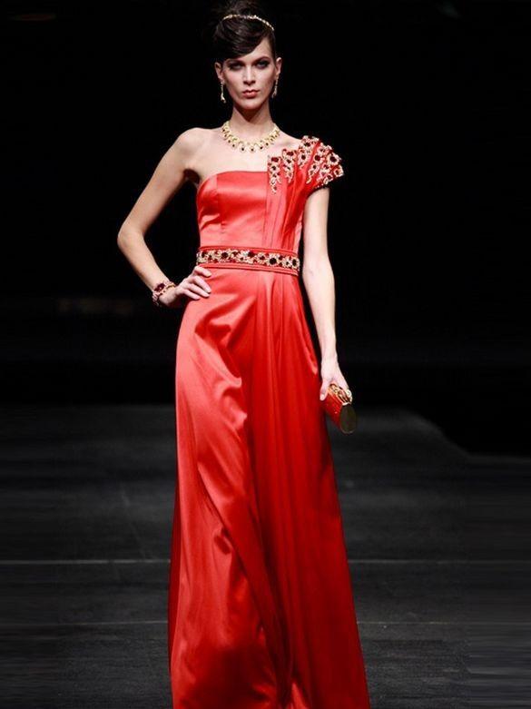 Edle One Shoulder Abendkleider A-Linie Rot Satin Lang ...