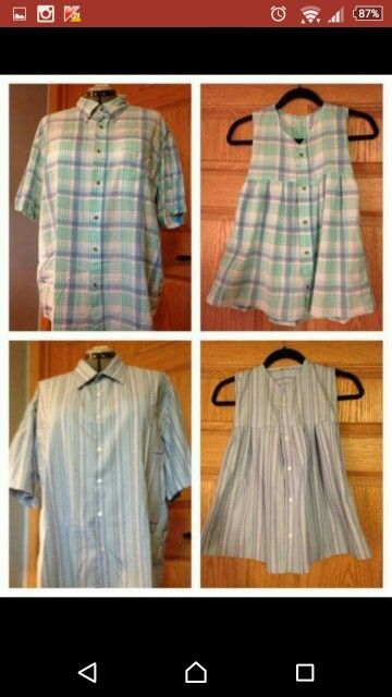 Toddler Dress from Mens Shirt without Collar