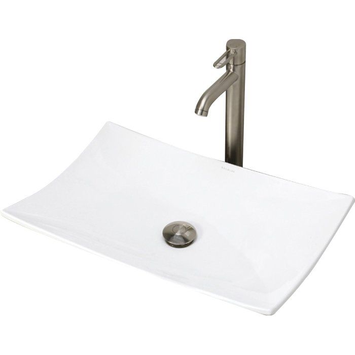 Classically Redefined Iris Ceramic Rectangular Vessel Bathroom Sink