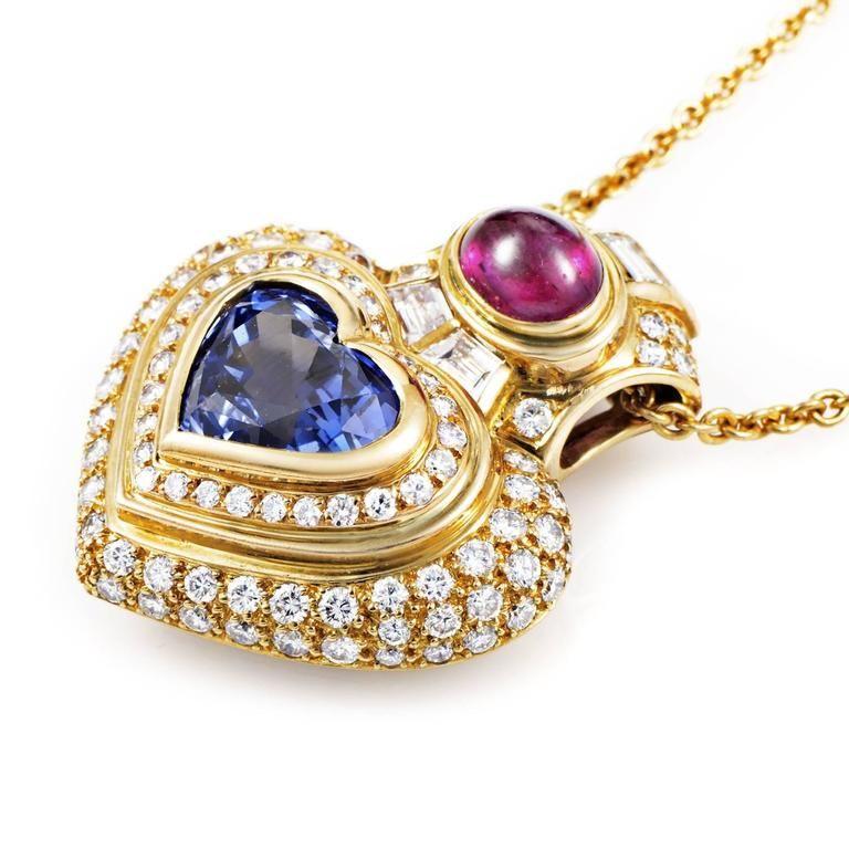 Bulgari precious gemstone gold heart pendant necklace gemstone bulgari precious gemstone gold heart pendant necklace at 1stdibs mozeypictures Image collections