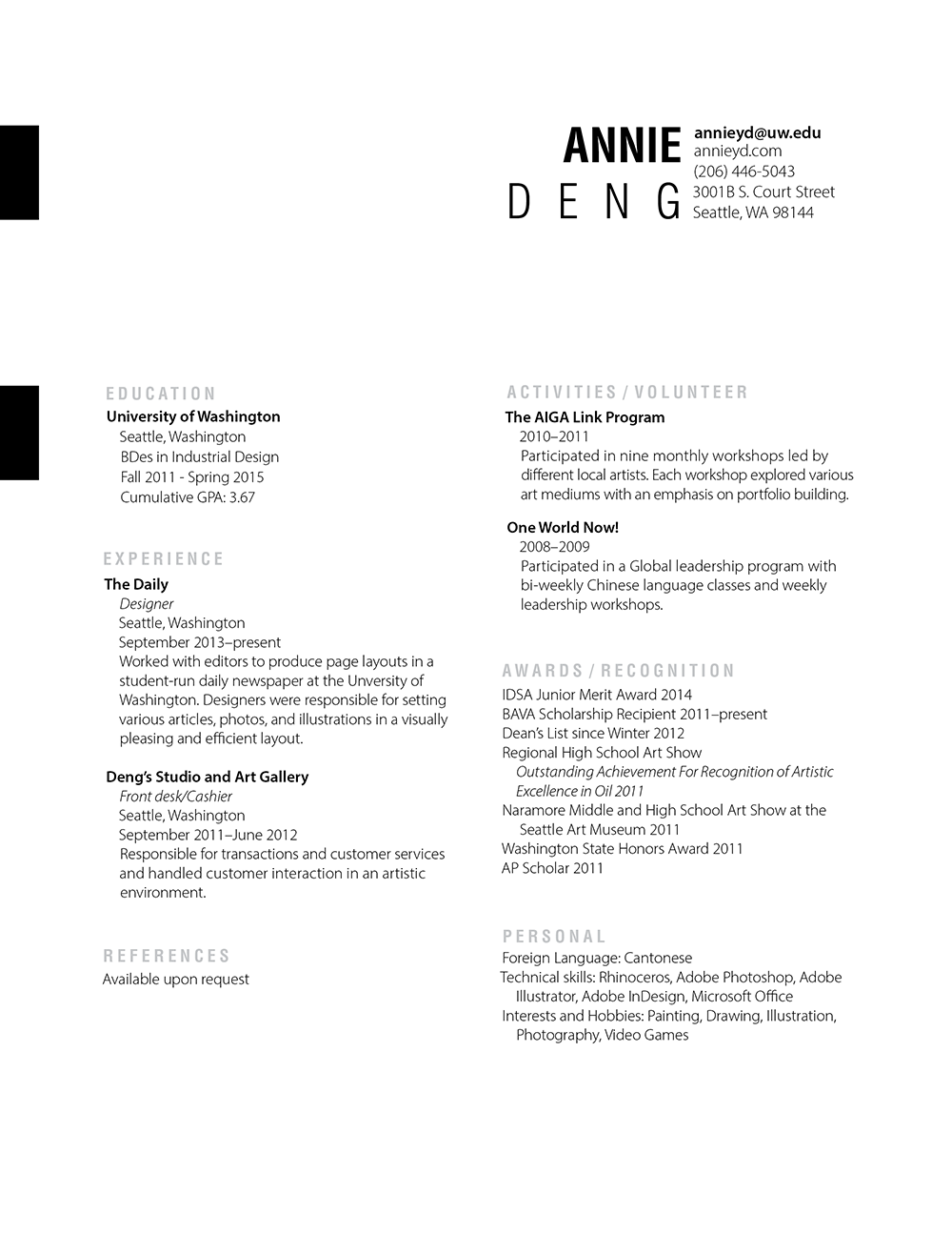 Industrial Design Resume Resume 1000×1295  Resumé Examples  Pinterest