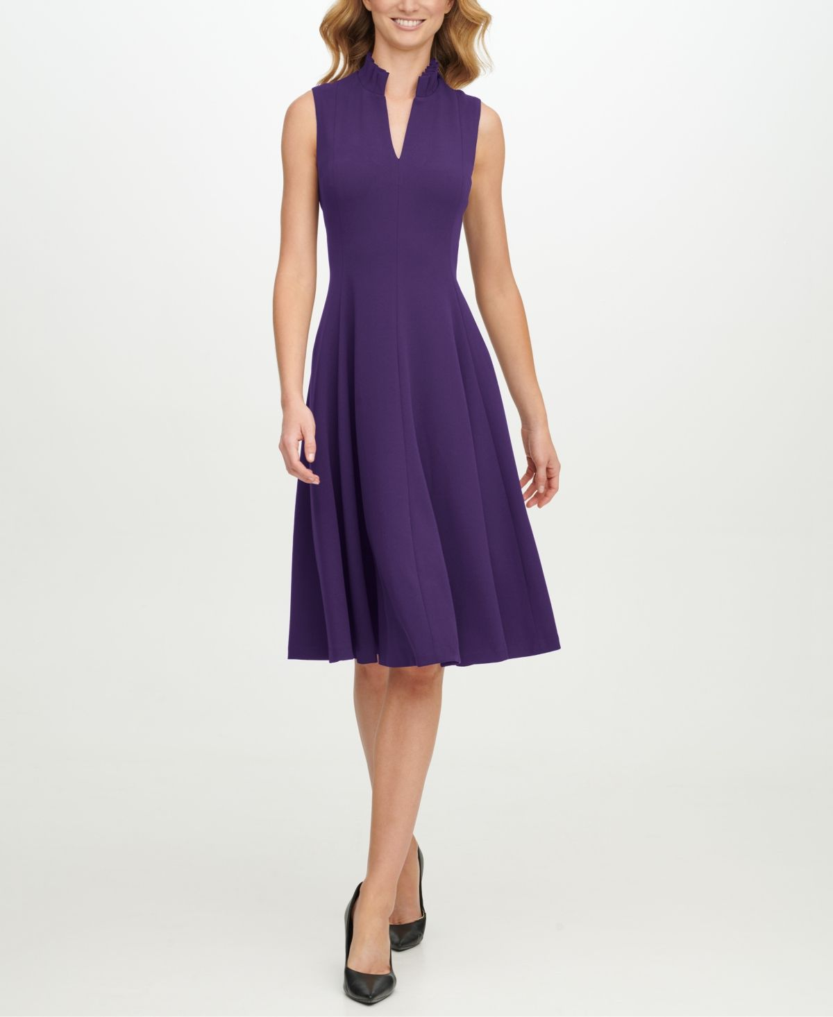 Calvin Klein Ruffled Neck Seamed Fit Flare Dress Night Flare Dress Fit Flare Dress Dresses [ 1466 x 1200 Pixel ]