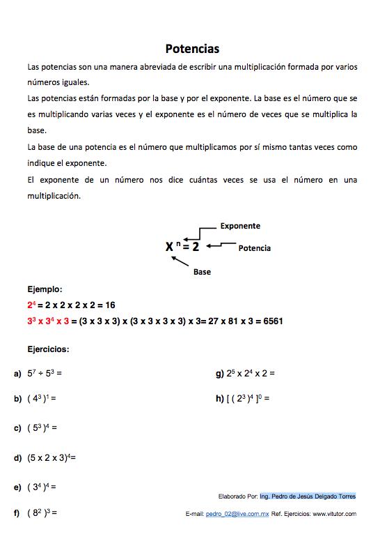 potencias-y-exponentes | algebra | Pinterest | Clase de matemáticas ...