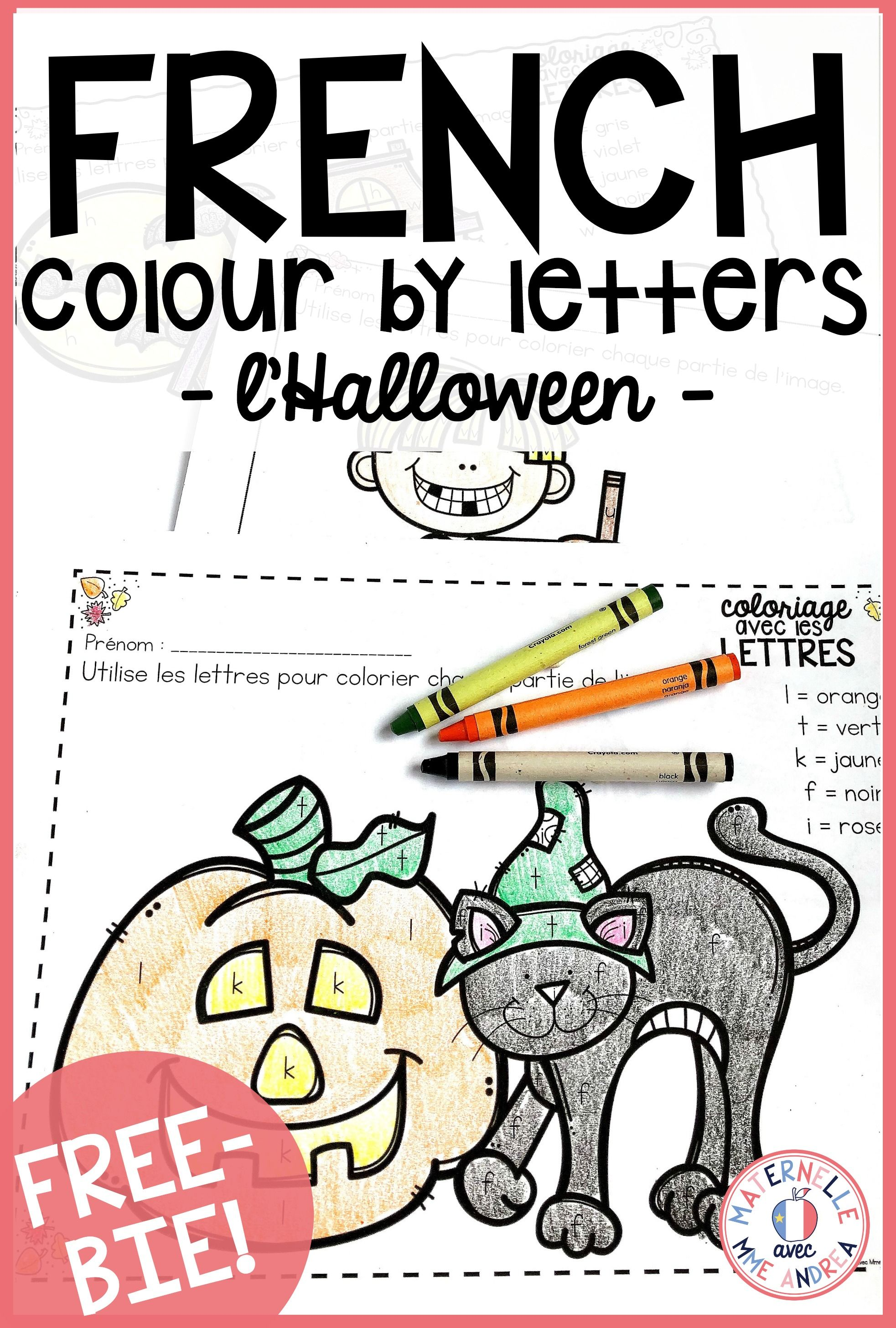 Gratuit Free French Fall Halloween Colour By Letter Sheets Halloween Worksheets Learning French For Kids Halloween Preschool [ 2913 x 1965 Pixel ]