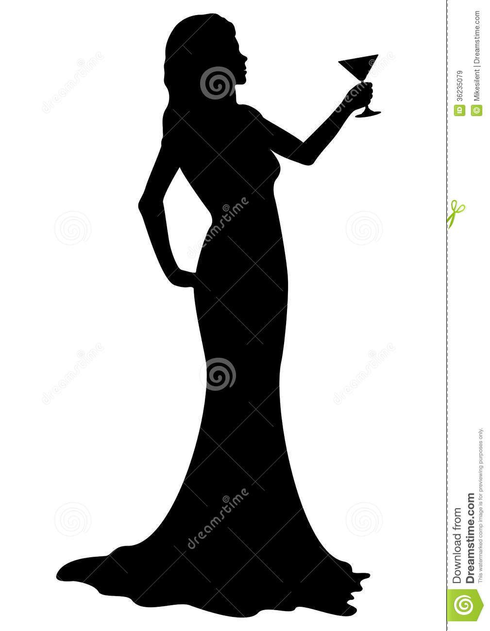 Silhouette girl with cocktail glass