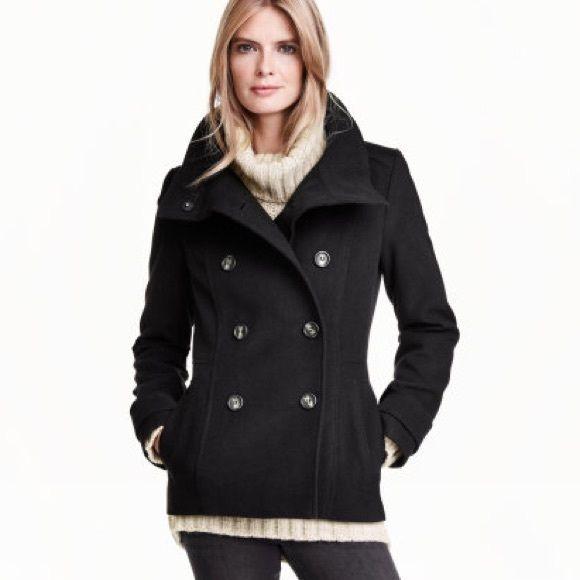 H&M Black Short Pea Coat - Size 6 Brand New H&M Black Short Pea ...