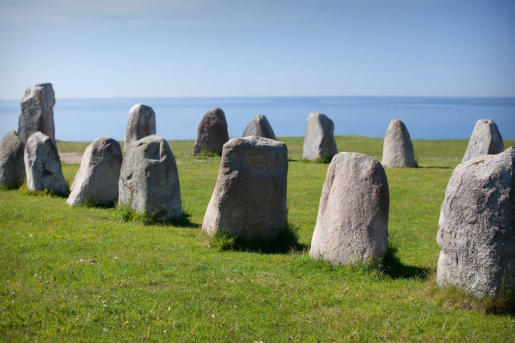 Ales stenar in Kåseberga, Österlen, Skåne, Sweden