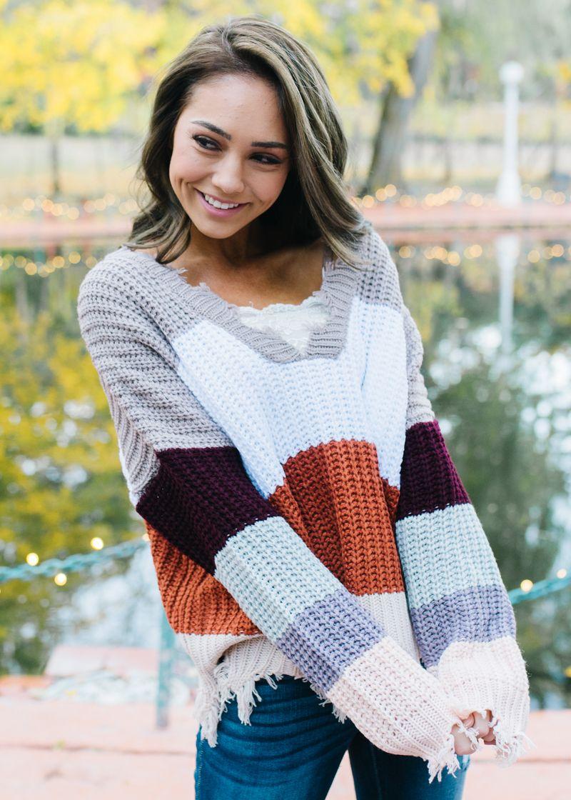 Metaphor Womens Rhinestone Collared Sweater - Striped
