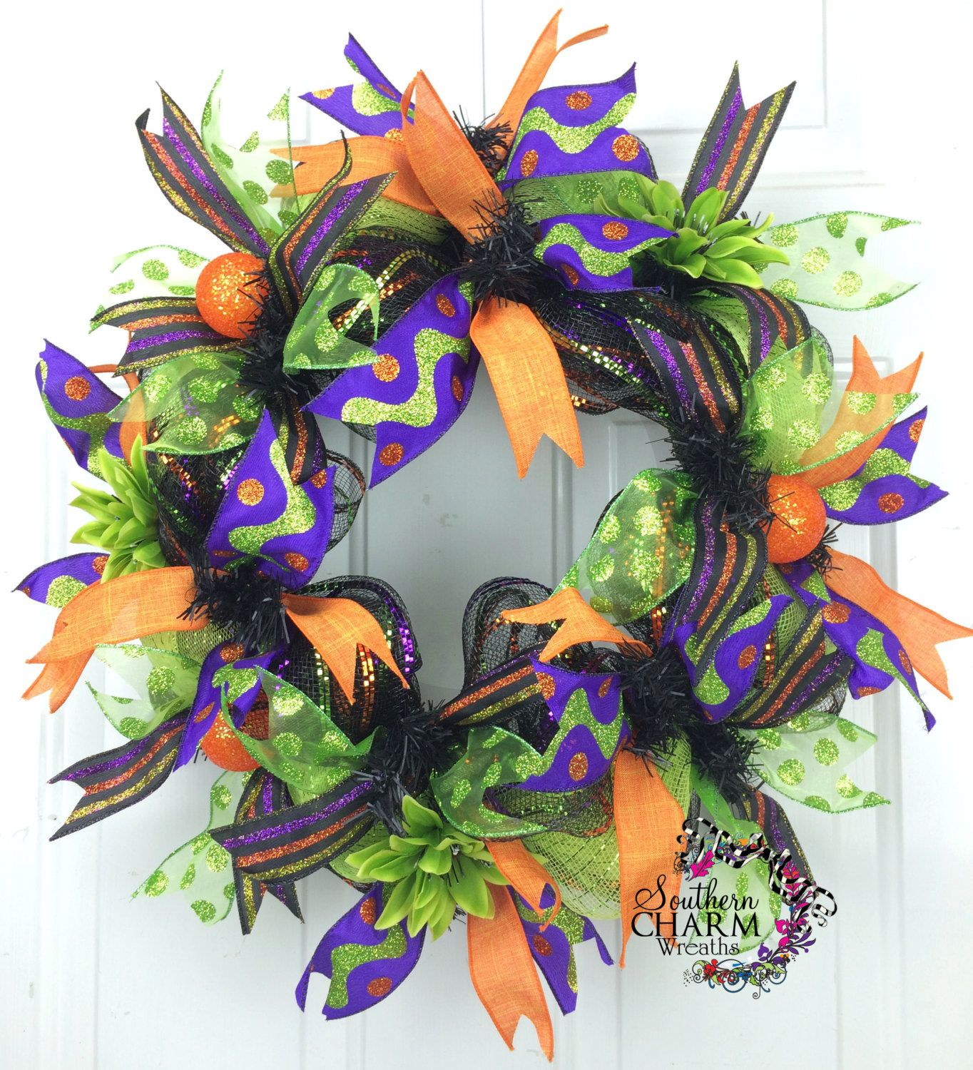 Deco Mesh Slim Halloween Wreath -Trick or Treat Wreath -Whimsical - Whimsical Halloween Decorations