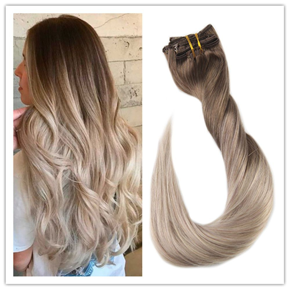 Full Shine Human Hair Clip Extensions Blonde Ombre Hair Extensions