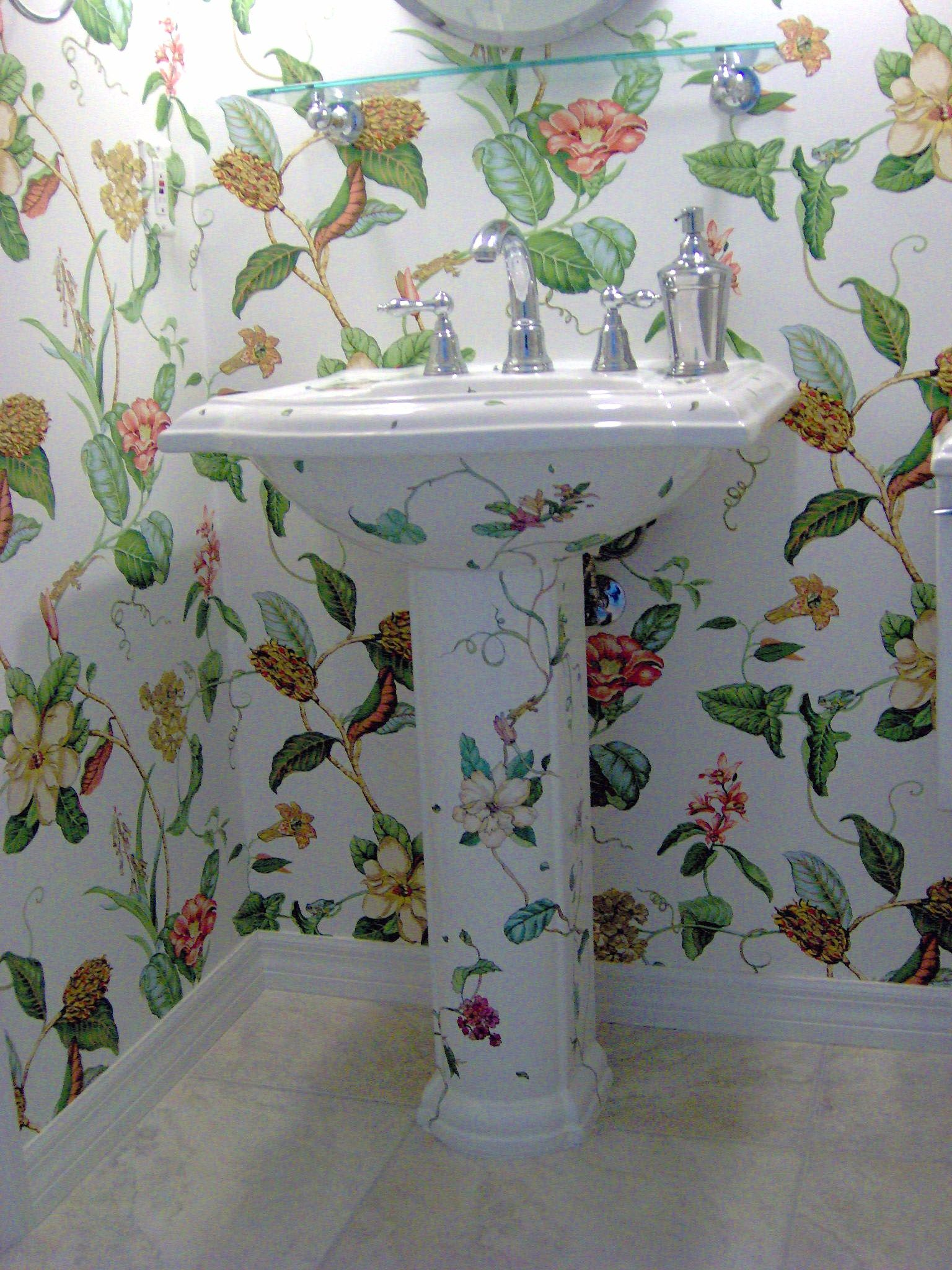 Pedestal Sink Designed And Hand Painted To Coordinate The Wallpaper.