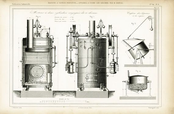 1867 Steam Engine Print Original Technical Drawing Industial - copy business blueprint for manufacturing