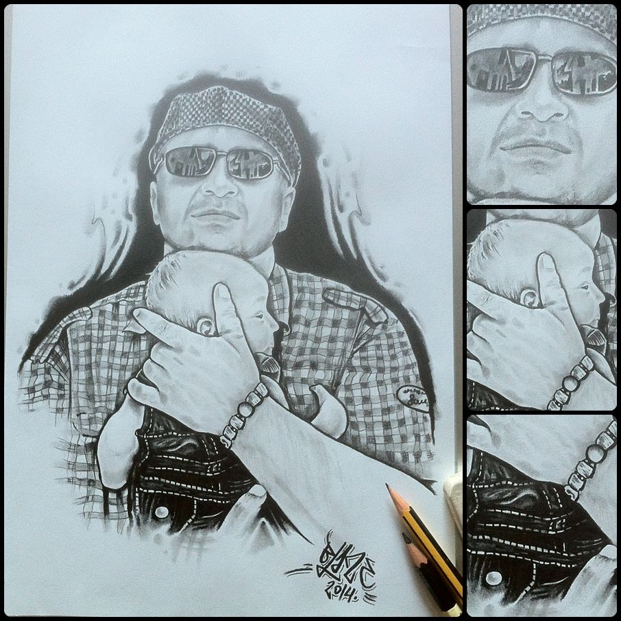 My friend with his son; pencil drawing by Blaze