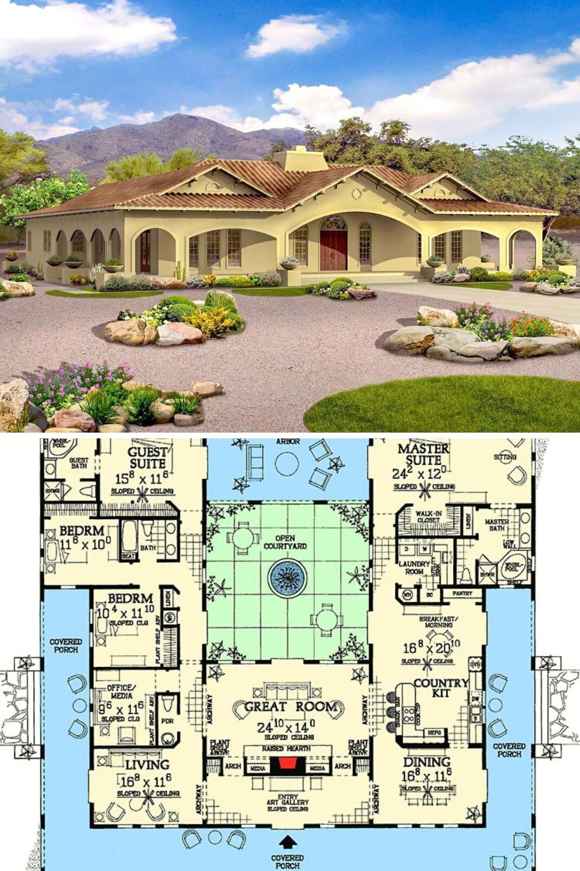 4 Bedroom Single Story Adobe Home with Open Courtyard Floor Plan