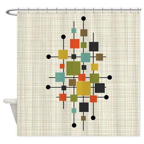 Eames Era Squares Art Shower Curtain On Cafepress Com Modern