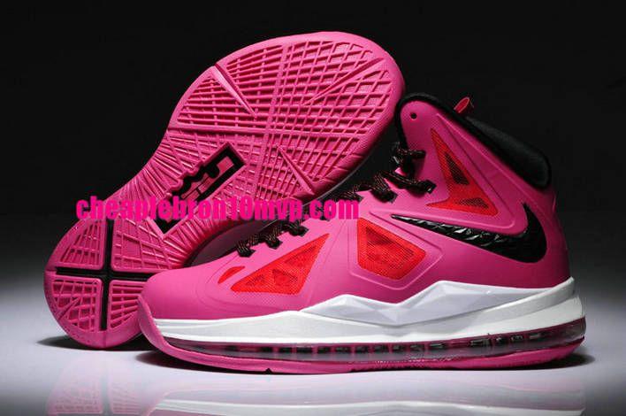 LeBron 10 GS Womens Pink White Black Cheap Lebron James Shoes ... 2d79484e4