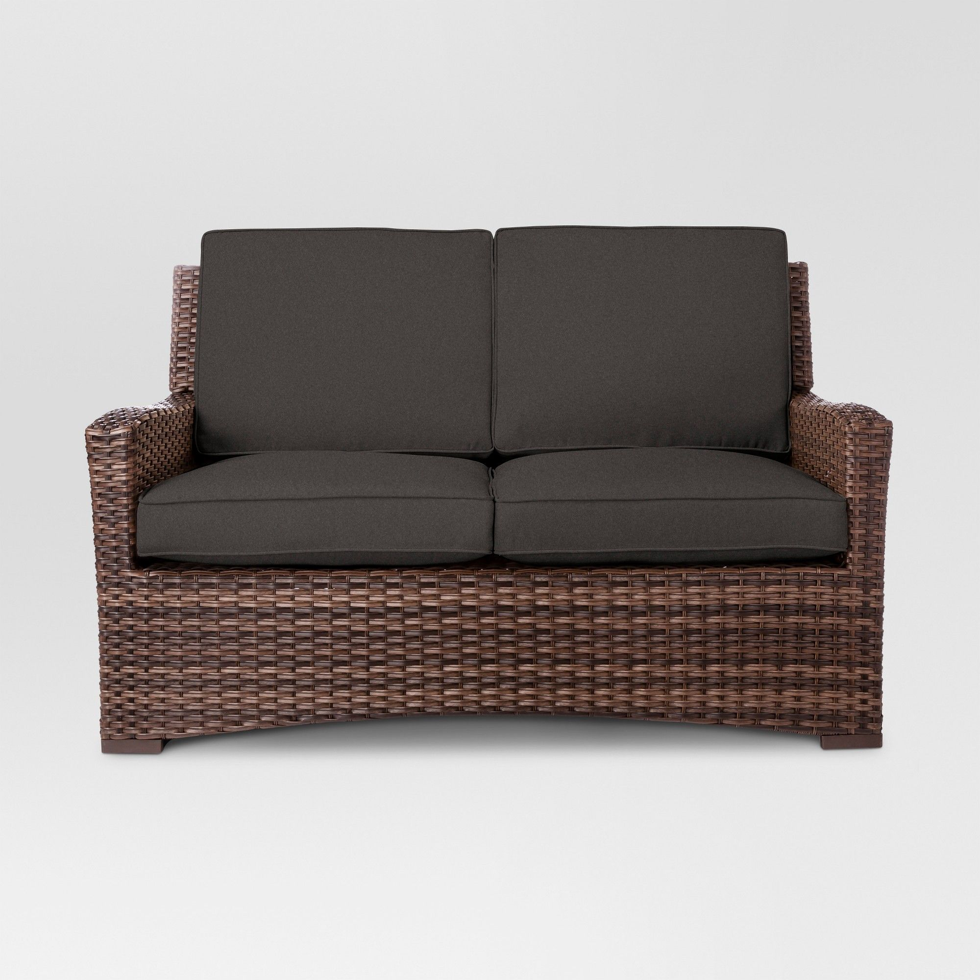 Halsted wicker patio loveseat charcoal threshold grey