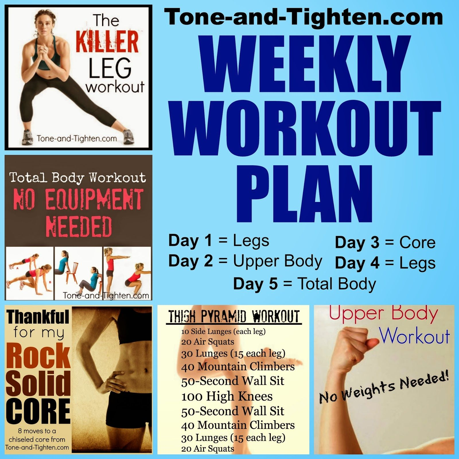 Body Shred From Toe To Head Weekly Workout Plan On ToneAnd