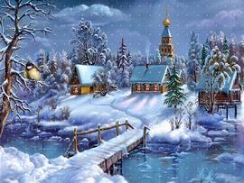 fond d'ecran sur : Noel paysages | Vintage christmas cards