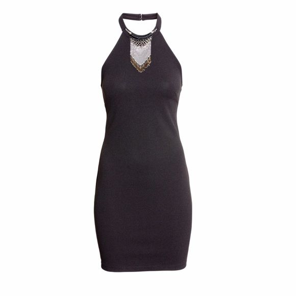 Black halter top dress with collar