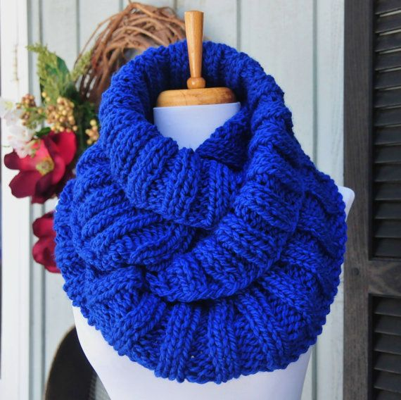 Chunky Knit Infinity Scarf Royal Blue Scarf Knitted by ...