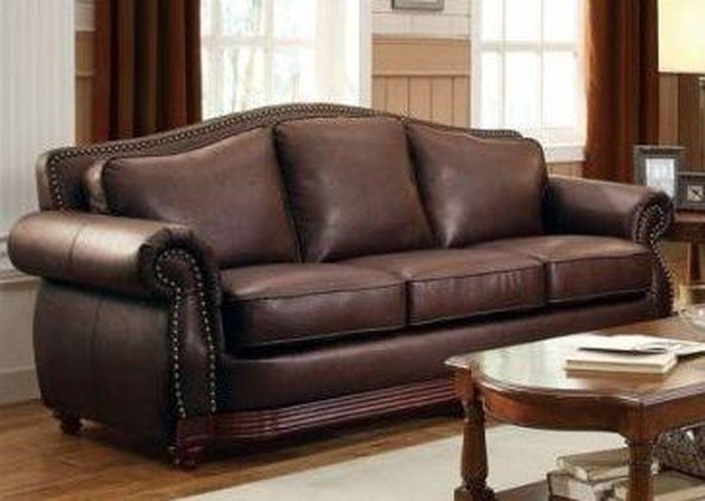 48 lovely farmhouse living room with leather sofa ideas