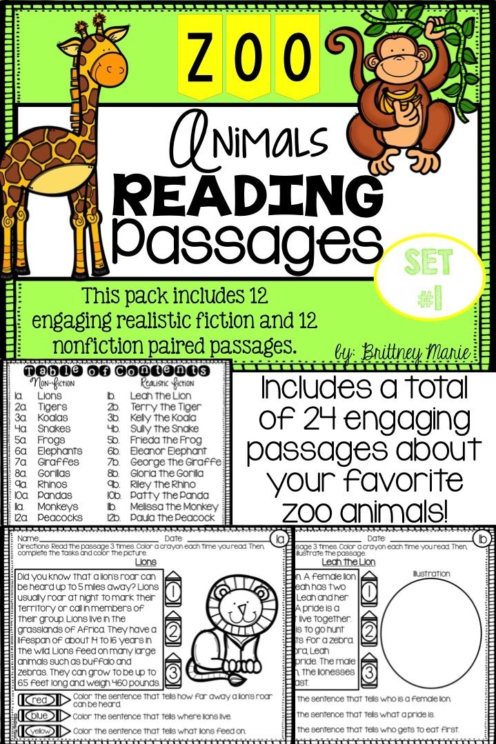 Zoo Animals Nonfiction Reading Prehension Passages Set